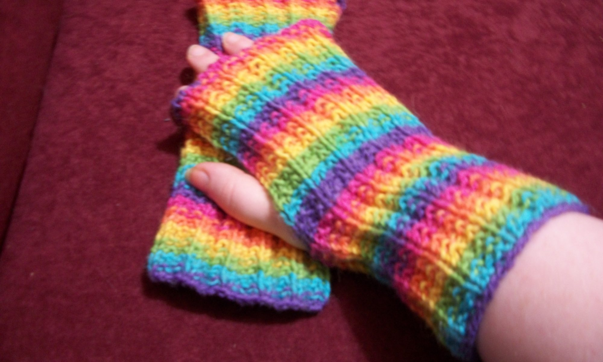 Knit the Rainbow Mitts